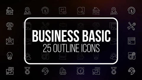 Business basic 25 outline animated icons Motion Graphics Template