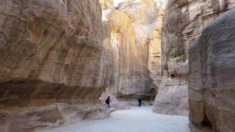 Al Siq Canyon of Petra Ancient City in Jordan Hyperlapse in 4K Ultra HD Live Action