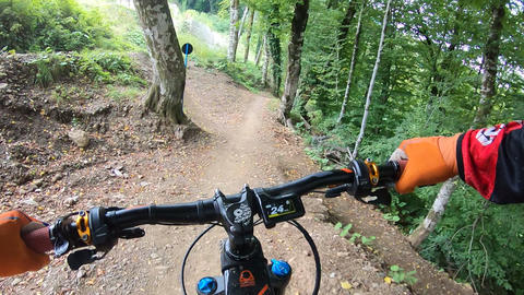 Point view biker hands on handle wheel while riding on bumpy berms trail road in summer forest. Live Action