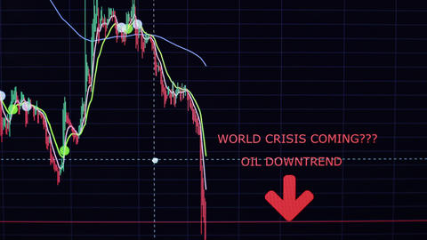 Stock market trade analysis oil downtrend crisis Live Action
