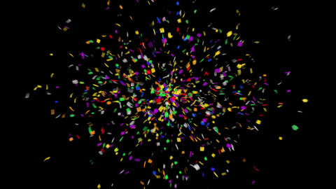 Multicolor 4K Confetti with Alpha Matte Channel Animation