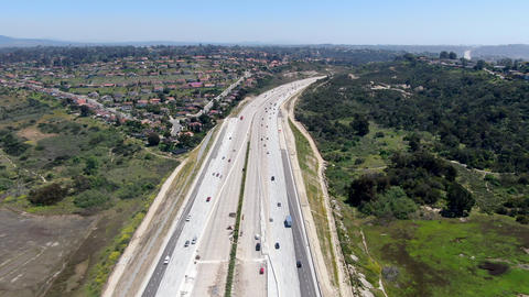 Aerial view of highway, freeway road with vehicle in movement Live Action