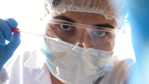 doctor opening swab taking collecting nasal throat swab pov patient perspective Live Action