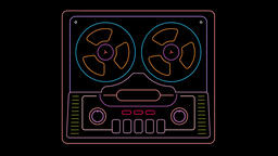 Neon Tape Recorder Animation