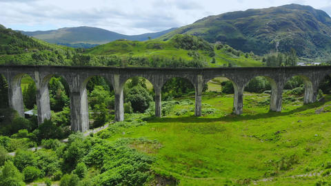 Beautiful Scotland - the famous Glenfinnan viaduct Live Action