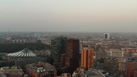 AERIAL: Beautiful view over Berlin, Germany Potsdamer Platz in Beautiful Grey Live Action