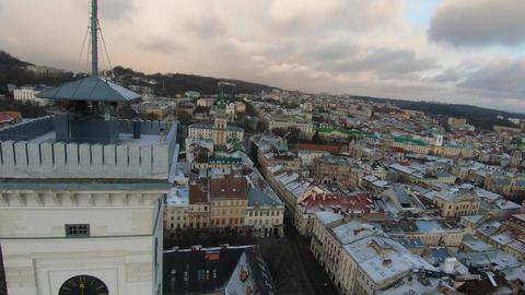 FPV drone flies around the town hall, Rynok Square, Lviv, Ukraine. Aerial view Live Action