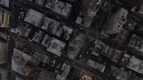 AERIAL: Birds Perspective flight over Manhattan New York City busy street lights Live Action