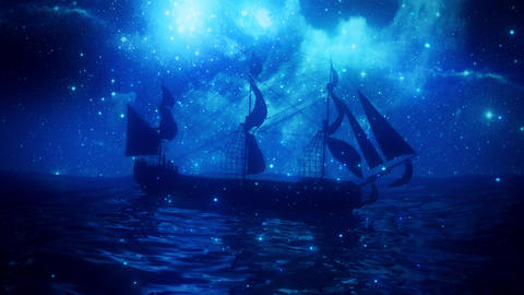 The Lonely Pirate in the Middle of The Ocean VJ Loop Background Animation