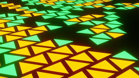 Orange Green Abstract Blink or Twinkle Triangle on Black Background in Side View Animation
