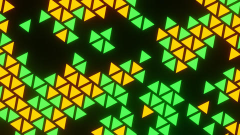 Orange Green Abstract Blink or Twinkle Triangle Rotate on Black Background Animation