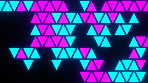 Purple Blue Abstract Blink or Twinkle Triangle on Black Background in Flatlay View Animation