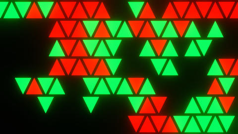 Red Green Abstract Blink or Twinkle Triangle on Black Background in Flatlay View Animation