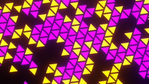 Purple Yellow Abstract Blink or Twinkle Triangle Rotate on Black Background Animation