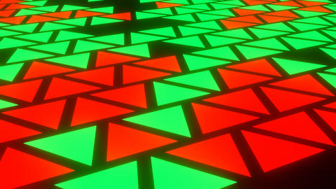 Red Green Abstract Blink or Twinkle Triangle on Black Background in Side View Animation