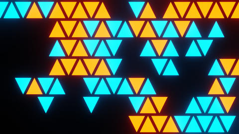 Blue Orange Abstract Blink or Twinkle Triangle on Black Background in Flatlay View Animation
