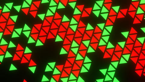 Red Green Abstract Blink or Twinkle Triangle Rotate on Black Background Animation