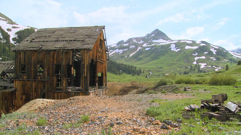 An abandoned mine in the Colorado Rocky Mountains Stock Video Footage