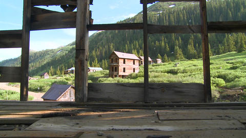 Colorado ghost town as seen through old windows Stock Video Footage