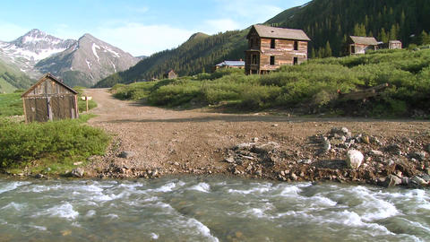Colorado ghost town with river flowing Footage