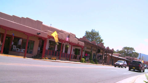 Street scene in Taos, New Mexico Footage