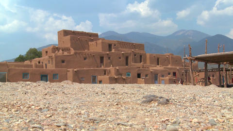 The Taos pueblo in New Mexico Stock Video Footage