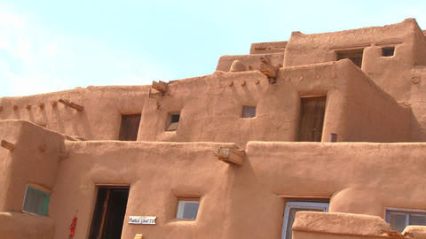 Adobe buildings at the Taos pueblo, New Mexico Stock Video Footage