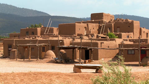 Stray dogs wander around the adobe Taos pueblo Footage