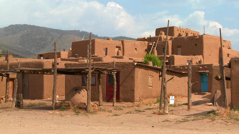 Establishing shot of the Taos pueblo in New Mexico Stock Video Footage