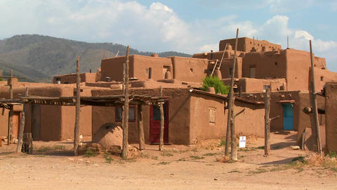 Establishing shot of the Taos pueblo in New Mexico Footage