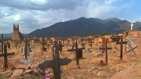 Christian graves and crosses in the Taos pueblo ce Stock Video Footage