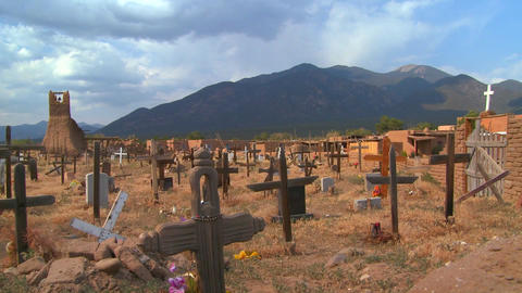 Christian graves and crosses in the Taos pueblo ce Footage