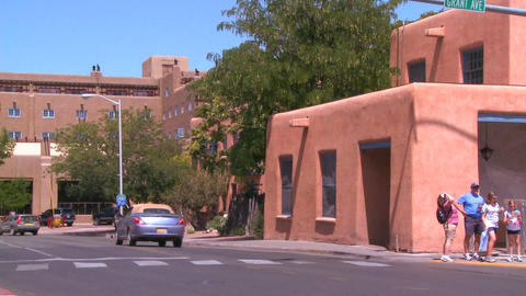An establishing shot of Santa Fe, New Mexico Footage