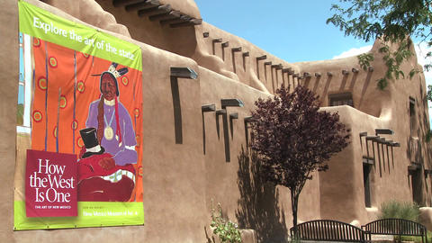 Exterior of a museum building in Santa Fe, New Mex Stock Video Footage