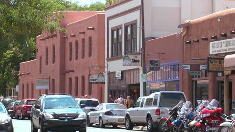 Establishing shot of downtown Santa Fe, New Mexico Stock Video Footage
