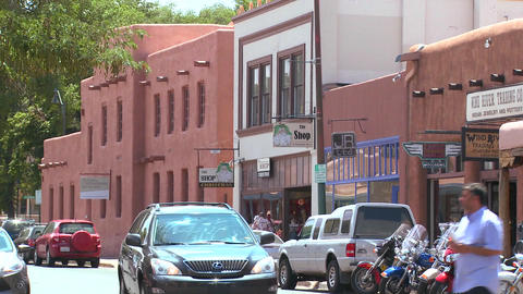Establishing shot of downtown Santa Fe, New Mexico Stock Video Footage