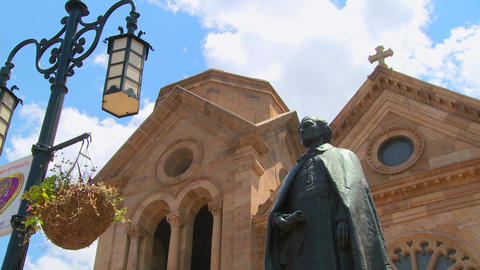 Low angle of St. Francis basilica in Santa Fe, New Stock Video Footage