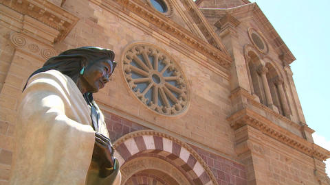 Low angle of statue at St. Francis basilica in San Footage