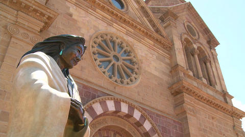 Low angle of statue at St. Francis basilica in San Stock Video Footage