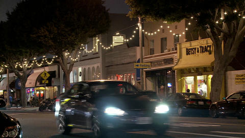 A Los Angeles street at night Stock Video Footage