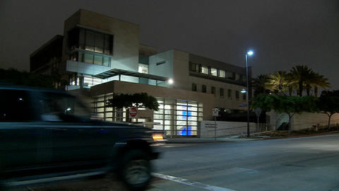 A police station at night Stock Video Footage