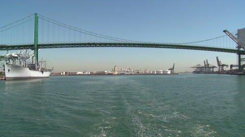POV from boat at Long Beach harbor Stock Video Footage