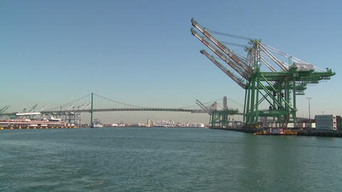 POV shot from a boat of cranes and Long Beach San Stock Video Footage