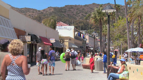 The boardwalk at Catalina Island in Southern Calif Footage