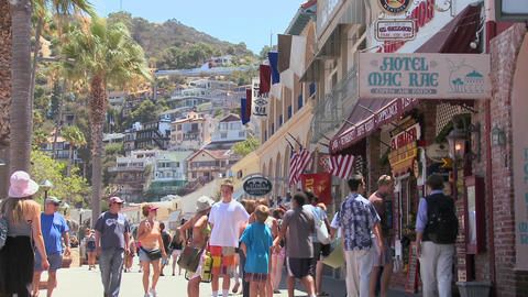 Summer crowds on the boardwalk at Catalina Island  Footage