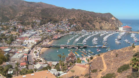 High angle overview of the town of Avalon on catal Stock Video Footage