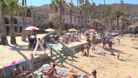 Catalina Island beachfront scene with tourists Stock Video Footage