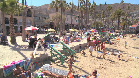 Catalina Island beachfront scene with tourists Stock Video Footage