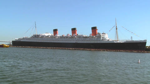 POV from a boat near the Queen Mary in Long Beach  Footage