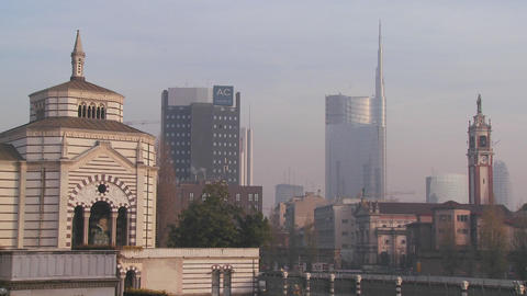 The modern skyline of Milan, Italy Footage